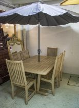 GARDEN SET INCLUDING TABLE, rectangular painted 73cm H x 160cm x 110cm a wind-out grey parasol and a