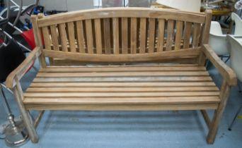 GARDEN BENCH, hardwood, 150cm W. (marks)
