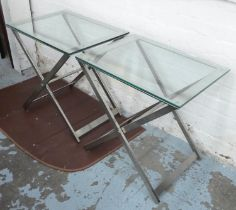 SIDE TABLES, a pair, contemporary polished metal and glass (scratches to glass) 45cm x 60cm x