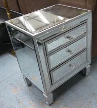 BEDSIDE CHESTS, a pair, mirrored each with three drawers, 55cm x 40cm x 68cm H. (2) (with faults)