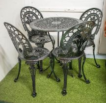 GARDEN SET INCLUDING TABLE, black painted metal with circular top, 69cm and a set of four chairs. (