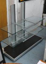 MEDIA CONSOLE, contemporary two tier glass, on castors, 120cm x 51cm x 116cm H.
