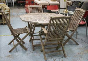 GARDEN TABLE, octagonal weathered teak on folding legs, 74cm H x 120cm W and a set of four folding
