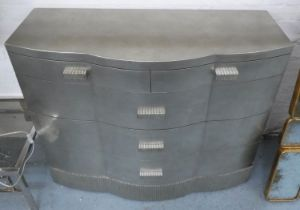 CHEST OF DRAWERS, contemporary silvered finish, 112cm x 50cm x 89cm.