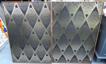 ART DECO STYLE WALL PANELS, a pair, framed, 120cm x 80cm. (2)