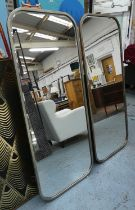 WALL MIRRORS, a pair, 1960's French style, silvered frames, bevelled plates, 156.5cm x 65cm. (2)
