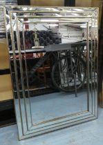 WALL MIRROR, Art Deco style, stepped frame design, 117cm x 86.5cm.