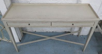 SIDE TABLE, in a painted distressed finish, 40cm x 78cm H x 120cm.