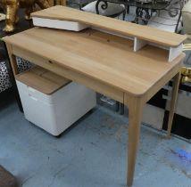 DESK, contemporary style oak 120cm x 60cm x 93cm H and white filing cabinet on castors. (2) (with