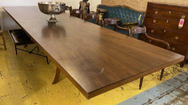DINING TABLE, contemporary design walnut, twin pedestal base, 72cm H x 440cm L x 120cm. (slight