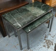 NESTING TABLES, a graduated pair, honed terrazzo tops, 76cm x 38cm x 49cm at largest. (2)