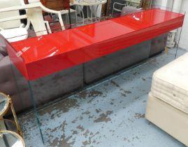 CONSOLE TABLE, red glass top, 46cm D x 95cm H x 206cm W.