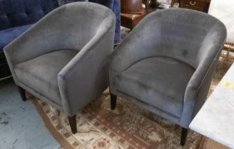 ARMCHAIRS, a pair, contemporary design in grey velvet with ribbed fabric detail, 75cm x 82cm x