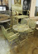 GARDEN SET, including table and four chairs, 1950's French style painted metal. (5) (some
