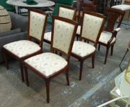 DINING CHAIRS, a set of six, with fleur de lys patterned upholstery on fluted turned front supports,