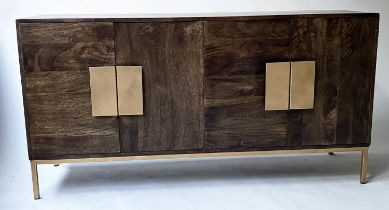 SIDEBOARD, contemporary teak with four doors with gilt metal handles and square supports, 147cm x