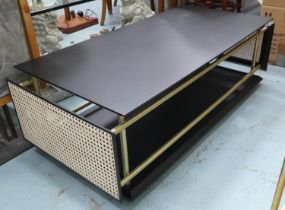 LOW TABLE, with caned end panels, 50cm x 36cm H x 108cm.