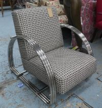 DEDAR CHERIE FABRIC UPHOLSTERED LOUNGE CHAIR, contemporary design, polished metal arms, 77cm W.