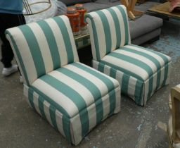DAVID SEYFRIED EASY CHAIRS, a pair, in a striped fabric, 65cm x 84cm H. (2)