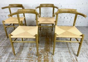 FAUX BAMBOO WISHBONE STYLE CHAIRS, a set of four, Hans J Wegner inspired, 81cm H x 57cm W. (4)