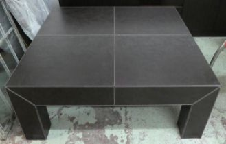 LOW TABLE, contemporary leathered design, with drawer, 100.5cm x 100.5cm x 40cm.