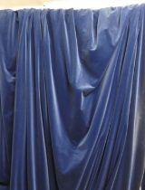CURTAINS, a pair, blue velvet, lined, 198cm W x 225cm drop. (2)