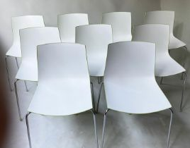 ARPER CATIFA 46 CHAIRS BY LIEVORE ALTHERR MOLINA, a set of nine, stacking green and white, 80cm