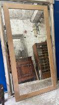 WALL MIRROR, antiqued segmented plate in a light oak frame, 200cm H x 100cm.