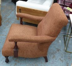 WESLEY-BARRELL OPEN ARMCHAIR, with umber fabric upholstery, 70cm W x 86cm H.