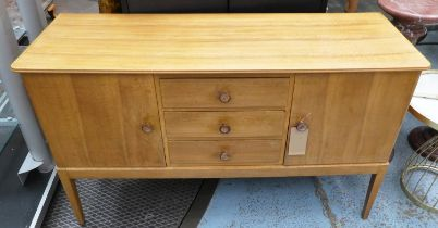 GORDON RUSSELL SIDEBOARD, 1970's walnut with three drawers flanked by cupboards, 142cm x 49cm x 85cm