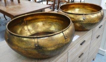 VESSELS, a pair, gilt metal. (2)