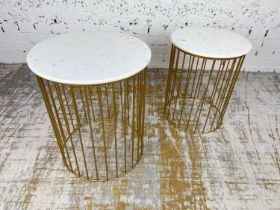 SIDE TABLES, a graduated pair, 1970's Italian design, circular marble tops on a gilt metal base,
