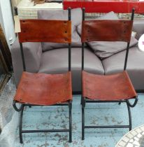 SIDE CHAIRS, a pair, Spanish style, leather seats, 107cm H. (2)