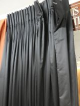 CURTAINS, a pair, black fabric with associated pair of sheers. (4)