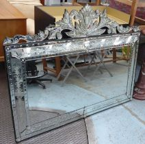 WALL MIRROR, Venetian style rectangular with foliate etched effect decoration and a central bevelled