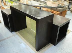 CONSOLE TABLE, together with two side tables, 88.5cm x 34.5cm x 64cm at largest. (3)