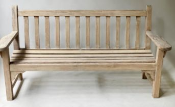 LISTER GARDEN BENCH, weathered slatted teak by Lister, 140cm W.