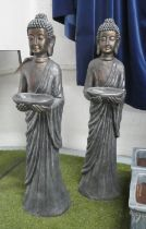 STANDING BUDDHAS WITH DISH, two, 106cm. (2)