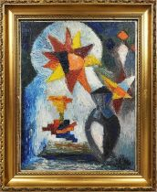 MANNER OF UMBERTO BOCCIONI 'Still life with urn before a mihrab window', oil on board, 34cm x