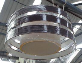 CEILING LIGHT, contemporary three ring design, 90cm diam.