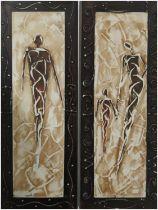 20TH CENTURY SCHOOL 'Figure Studies', a pair, acrylic on canvas, 80cm x 30cm each.