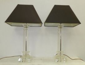 TABLE LAMPS, pair, each 76cm H including shades overall. (2)