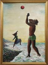 PETER RUDOLFO 'The Beach', oil on canvas, 622cm x 87cm, signed and dated, framed. (unstretchered)