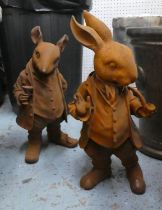 MR RABBIT AND HIS FRIEND RATTY, two, cast iron, 44cm and 45cm. (2)