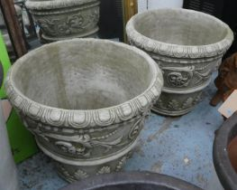 PLANTERS, two, floral swag detail, 56cm. (2)