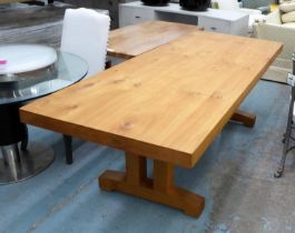 DINING TABLE, 235cm L x 77.5cm H x 96.5cm D oak with a rectangular top on trestle-end suppports.