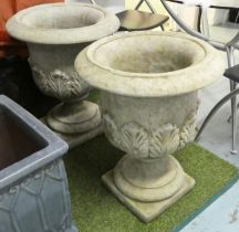 GARDEN URNS, two, with acanthus leaves, 63cm. (2)