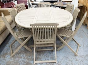 GARDEN TABLE, 75cm H x 200cm x 150cm, grey painted oval and two sets of folding chairs. (9)