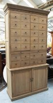 SIDE CABINET, 226cm H x 118cm x 46cm, oak in two parts with four doors, eight drawers, slide and