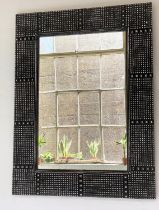 DANYA WALL MIRROR, contemporary rectangular with black and white square beaded frame, 122cm H x 92cm